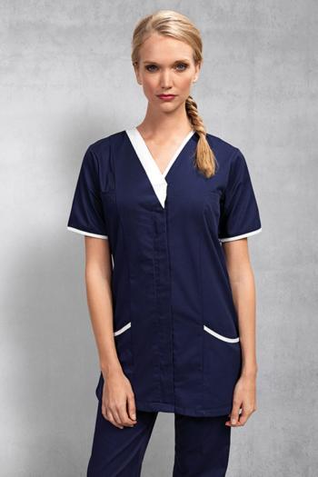 Berufsbekleidung Zimmermädchen Kasack in navy mit weißen Applikationen PW605