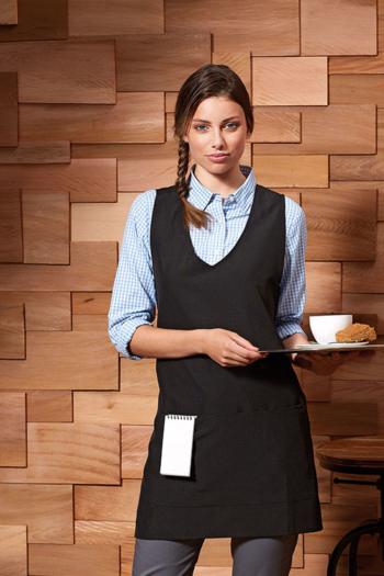 """Berufsbekleidung Zimmermädchen schwarze """"Wrap Around"""" Tunika PW177"""