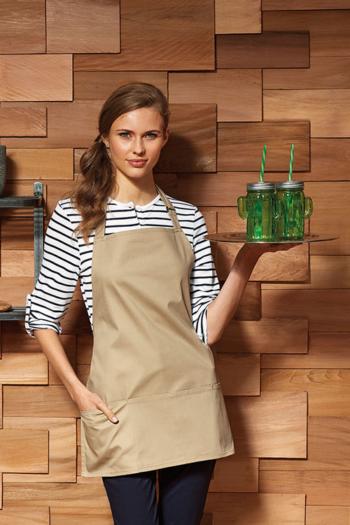 Berufsbekleidung Gastronomie kurze Latzschürze mit großen Taschen PW159