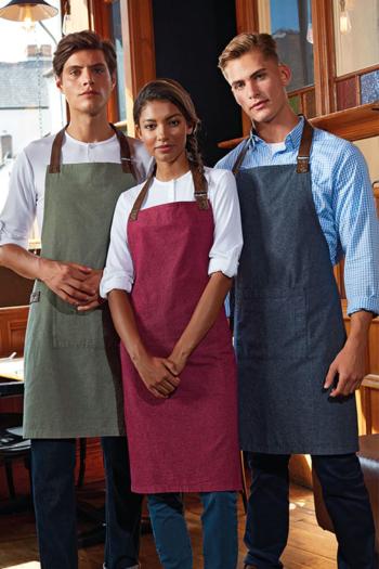 Berufsbekleidung Gastronomie Latzschürzen in verschiedenen Farben mit Kunstlederband PW144