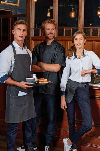 Berufsbekleidung Gastronomie Jeanslatzschürze PW126, Kochjacke PW906 mit Reißverschluss und Hüftschürze PW138 in black denim