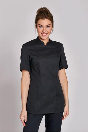 Berufsbekleidung Tierarzt eleganter Damenkasack in schwarz mit Stehkragen LB-08/1351
