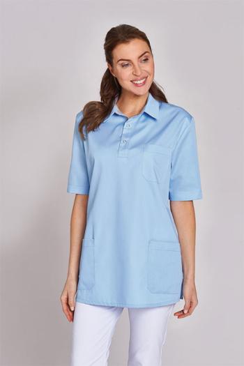 Berufsbekleidung Zimmermädchen Schlupfkasack Unisex in Poloshirt Optik in hellblau LB-12/1345