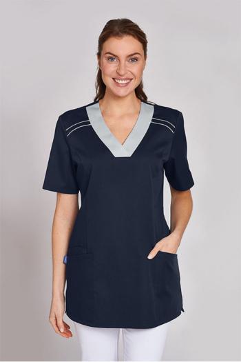 Berufsbekleidung Zimmermädchen dunkelblauer Schlupfkasack mit  hellgrauen Einsätzen LB-08/2798