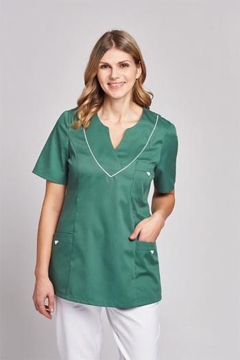 Berufsbekleidung Tierarzt Damen SCHLUPFKASACK in grün mit weißen Kontrastelementen LB-08/2788