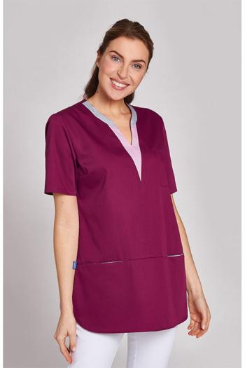Berufsbekleidung Housekeeping weinroter Kasack mit rosa/grauem V-Ausschnitt LB-08/1334