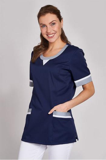 Berufsbekleidung Medizin Damen Schlupfkasack in marine mit weiß/grauen Kontrasten LB-08/1333