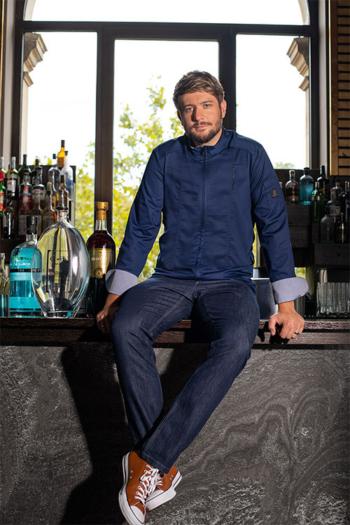 """Berufsbekleidung Kantine Premium Kochjacke """"Benjamin Maerz"""" in dunkelblau mit Reißverschluss GR-5575"""