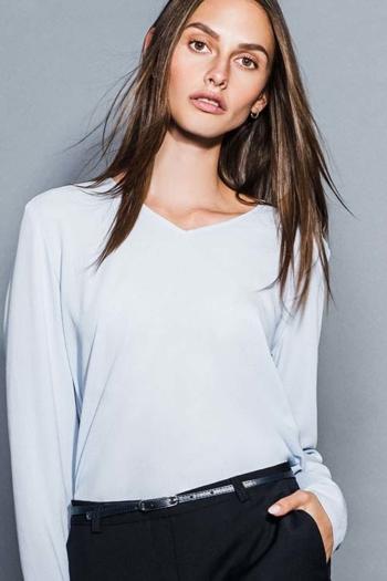 Berufsbekleidung Zahnarzt Damen Crepe Shirt mit V-Ausschnitt DH-63290