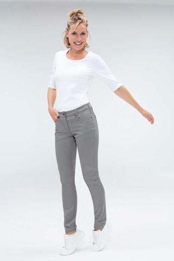 Berufsbekleidung Zahnarzt weißes Damenshirt GR-6680 und graue 5-Pocket Hose GR-1372