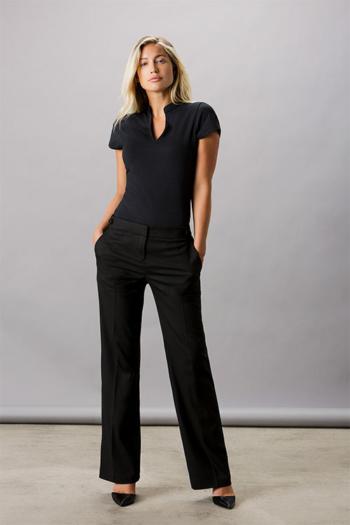 Berufsbekleidung Bestattungsinstitut V-Neck Damenshirt mit Mandarin Kragen in schwarz KK770