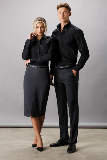 Berufsbekleidung Bestattungsinstitut Langarmhemd KK142 und Langarmbluse KK242 in schwarz