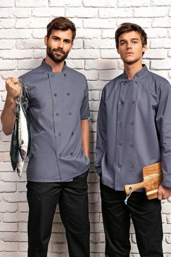 Berufsbekleidung Kantine klassische Kochjacken in grau in der kurzarm oder langarm Version PW656/657