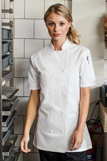 Berufsbekleidung Kantine klassische Damen Kurzarm-Kochjacke in weiß PW670