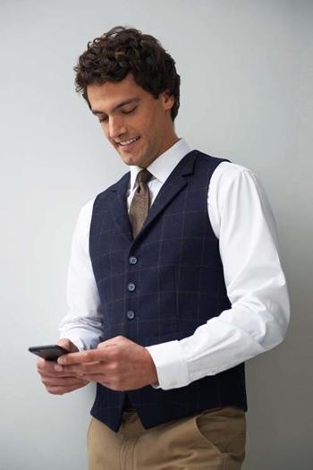 Berufsbekleidung Büro Business Casual Tweedweste in dunkelblau