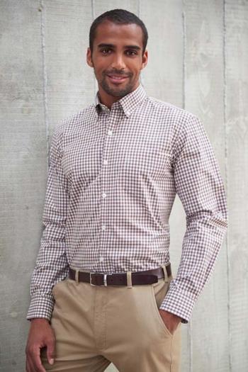 Hemd und Bluse mit Stickerei langärmeliges kariertes Hemd in weiß/braun