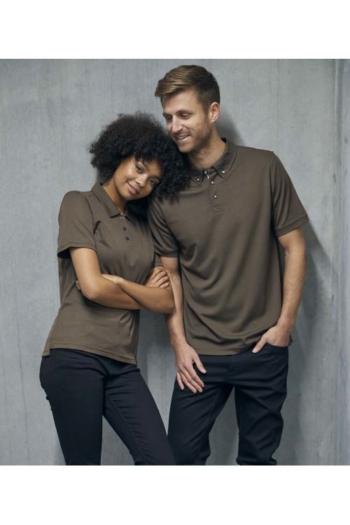 Messebekleidung Sportwool Poloshirt für Damen und Herren in olive mit 25% Merinowolle CLI-4519/4520