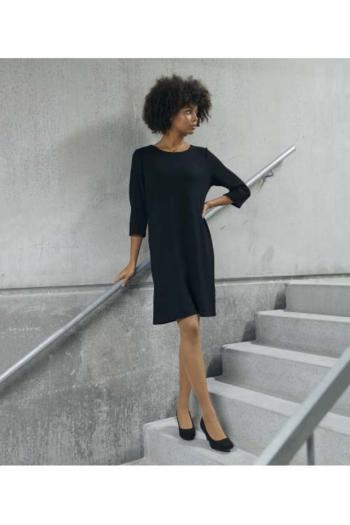 Berufsbekleidung Beauty und Wellness Viskose Kleid mit Struktur in schwarz CLI-4202