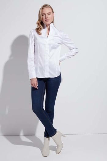 Hemd und Bluse mit Stickerei Damenbluse mit Kelchkragen ETE-D775