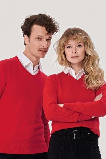 Berufsbekleidung Service Strickpullover mit V-Ausschnitt für Damen und Herren in rot HAK133