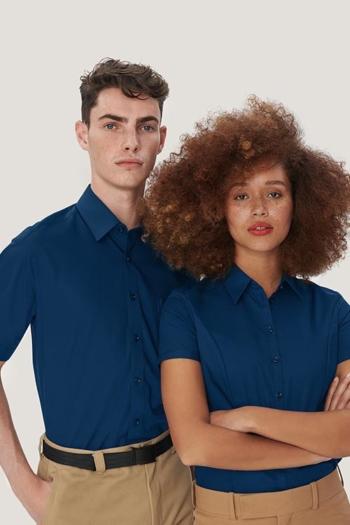 Berufsbekleidung Rezeption Bluse und Hemd kurzarm in royalblau HAK112
