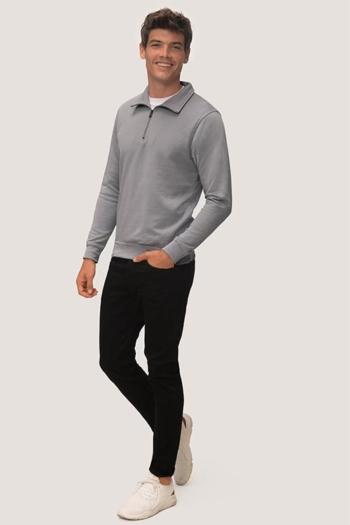 Berufsbekleidung Arztpraxis Sweatshirt mit kurzem Reißverschluss in grau HAK451