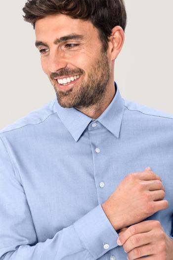 Hemden und Blusen besticken lassen modisches langärmeliges Oxford Hemd mit Kent Kragen HAK119