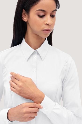 Hemden und Blusen besticken lassen modische langärmelige Oxford Bluse mit Kent Kragen HAK118