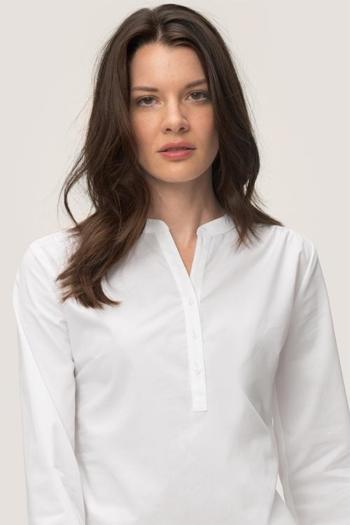 Hemd und Bluse mit Stickerei feminin geschnittene langärmelige Stretch-Tunikabluse HAK113