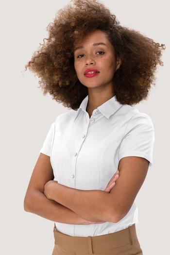 Mitarbeiterbekleidung Bluse mit kurzem Arm in weiß HAK112
