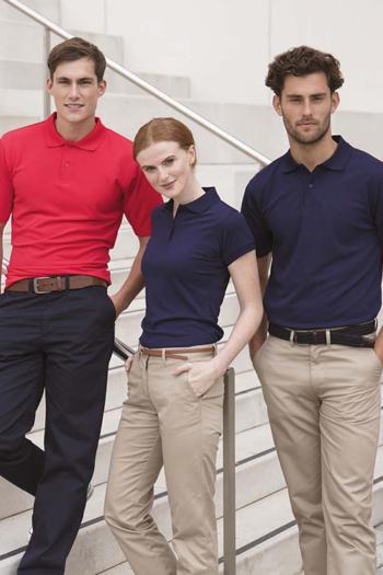 Messebekleidung Poloshirts für Damen und Herren in rot und blau H475/476