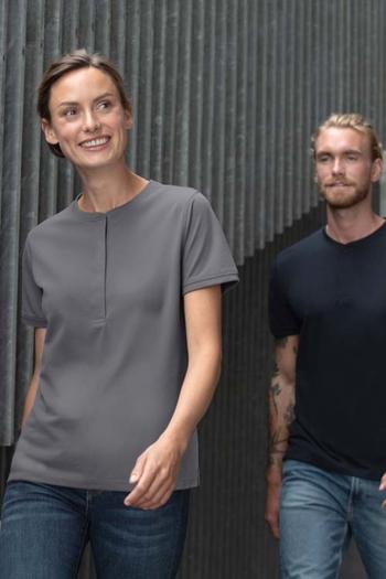 Berufsbekleidung Physiotherapie Poloshirts für Damen und Herren ohne Kragen mit verdeckter Druckknopfleiste ID-0375/0374