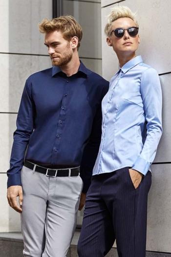 Berufsbekleidung Büro Langarmhemd und Bluse in verschiedenen Blautönen ID-262