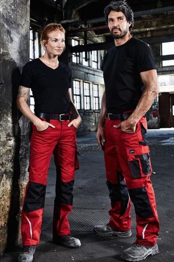 Berufsbekleidung Workwear Hosen in rot/schwarz JN832 und T-shirts  für Damen und Herren JN1807/1808