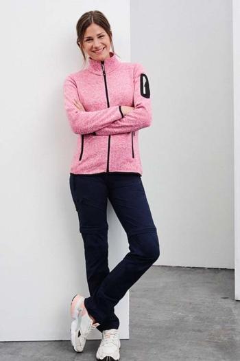 Berufsbekleidung Physiotherapie modische Strickfleece Jacke mit Stehkragen in pink melange JN761