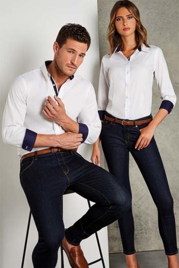 Hemden und Blusen langärmelige Bluse / Hemd in weiß mit blauen Kontrasten KK190/790