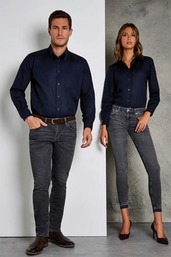 Hemd und Bluse mit Stickerei langärmelige dunkelblaue Bluse und Hemd KK361/351