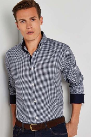Hemd und Bluse mit Stickerei langärmeliges kariertes Hemd mit Kontrastmanschetten KK136
