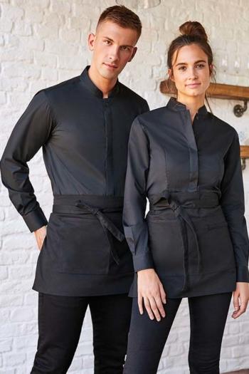 Berufsbekleidung Service langärmelige Bluse & Hemd in schwarz mit Stehkragen KK740/123