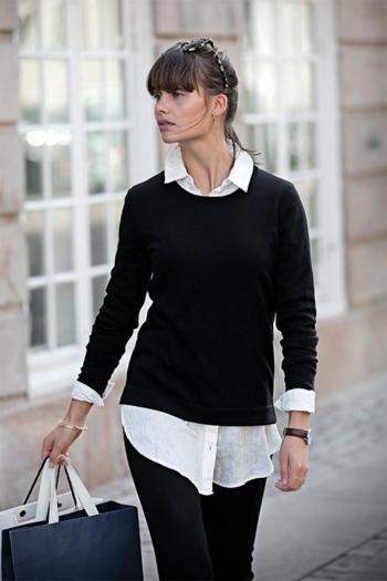 Berufsbekleidung Büro eleganten Rundhals-Strickpullover Brighton in schwarz