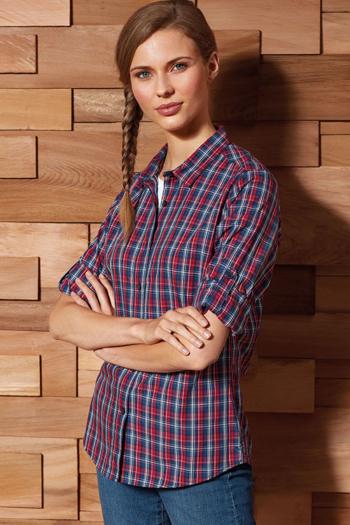 Hemden und Blusen besticken lassen kurzärmelige karierte Bluse mit Krempelärmeln PW356