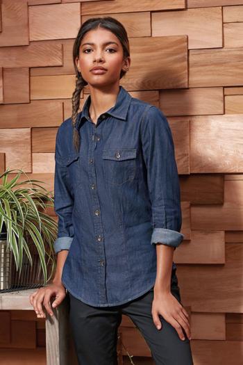 Hemd und Bluse mit Stickerei langärmelige Jeansbluse in indigo denim PW322
