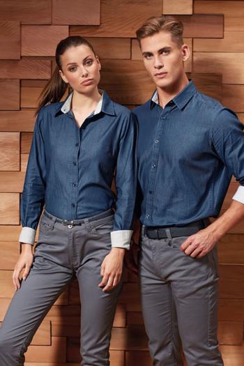 Berufsbekleidung Service Jeansbluse und Hemd mit Kontrasteinsätzen PW359/259