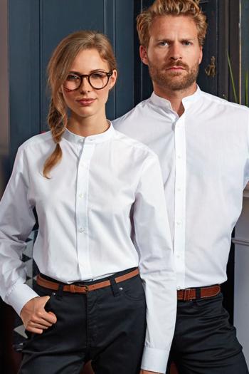 Berufsbekleidung Beauty und Wellness Damen Bluse und Herren Hemd in weiß mit Stehkragen PW258
