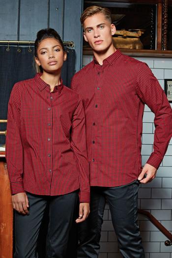 Hemden und Blusen besticken lassen karierte langärmelige Bluse / Hemd in rot/schwarz PW352/252