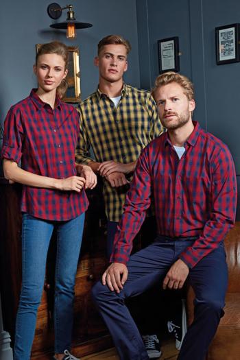 Hemd und Bluse mit Stickerei langärmelige karierte Bluse / Hemd mit Krempelärmeln PW350/250