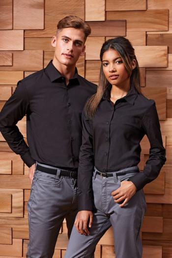 Berufsbekleidung Rezeption langärmelige Bluse und Hemd in schwarz PW344/244