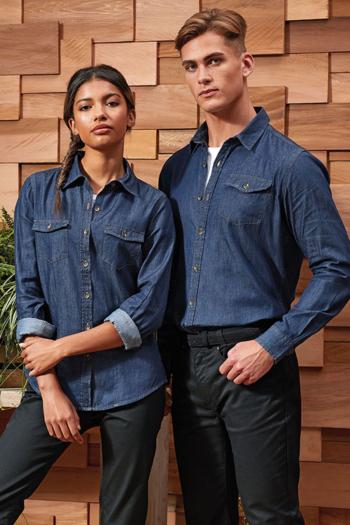 Eventbekleidung langärmelige Jeansbluse und Jeanshemd in indigo denim PW322/222