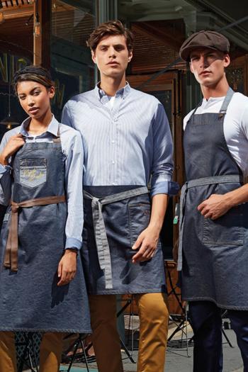 Eventbekleidung Schürzen im Waxed Look in indigo denim PW134/135/136