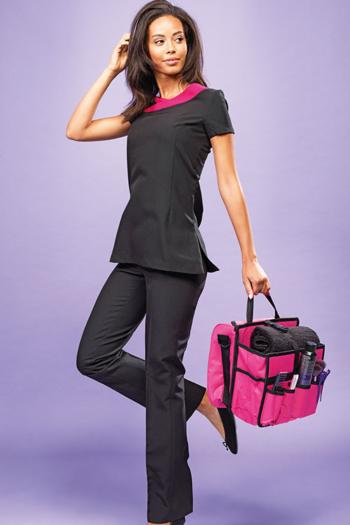 Berufsbekleidung Beauty und Wellness Damen Schlupfkasack in schwarz mit pinkem Ausschnitt PW691